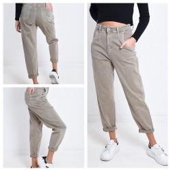 Jeans gris taille haute