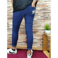 Pantalon uni bleu marine...